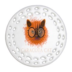 Cat Smart Design Pet Cute Animal Round Filigree Ornament (two Sides)