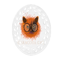 Cat Smart Design Pet Cute Animal Oval Filigree Ornament (two Sides)