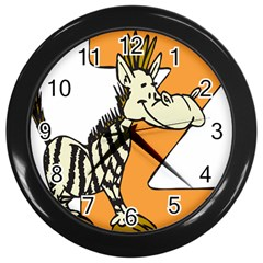 Zebra Animal Alphabet Z Wild Wall Clocks (black)