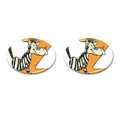 Zebra Animal Alphabet Z Wild Cufflinks (oval)