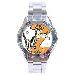Zebra Animal Alphabet Z Wild Stainless Steel Analogue Watch