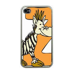 Zebra Animal Alphabet Z Wild Apple Iphone 4 Case (clear)