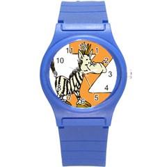 Zebra Animal Alphabet Z Wild Round Plastic Sport Watch (s)