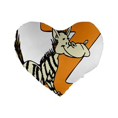 Zebra Animal Alphabet Z Wild Standard 16  Premium Heart Shape Cushions