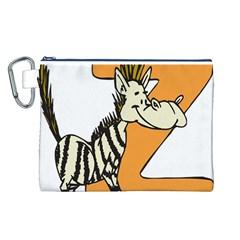 Zebra Animal Alphabet Z Wild Canvas Cosmetic Bag (l)