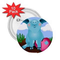 Pig Animal Love 2 25  Buttons (10 Pack)