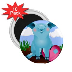 Pig Animal Love 2 25  Magnets (10 Pack)