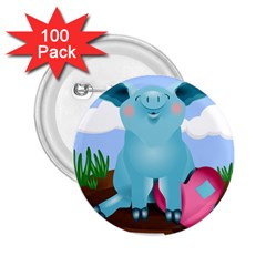 Pig Animal Love 2 25  Buttons (100 Pack)