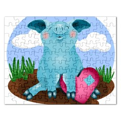 Pig Animal Love Rectangular Jigsaw Puzzl