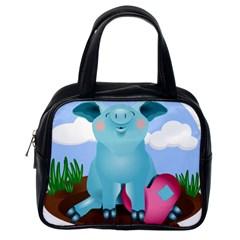 Pig Animal Love Classic Handbags (one Side)