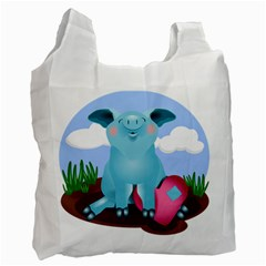 Pig Animal Love Recycle Bag (one Side)