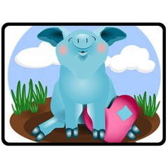 Pig Animal Love Fleece Blanket (large)