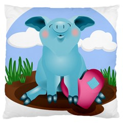 Pig Animal Love Large Cushion Case (two Sides)