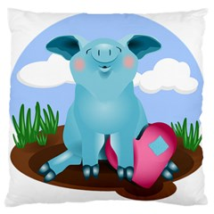 Pig Animal Love Large Flano Cushion Case (two Sides)