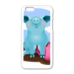 Pig Animal Love Apple Iphone 6/6s White Enamel Case