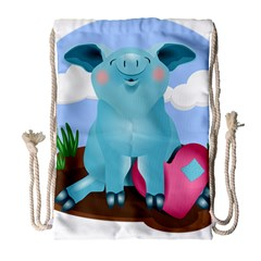 Pig Animal Love Drawstring Bag (large)
