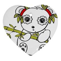 Panda China Chinese Furry Ornament (heart)
