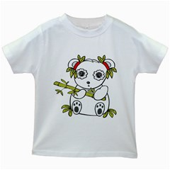 Panda China Chinese Furry Kids White T Shirts