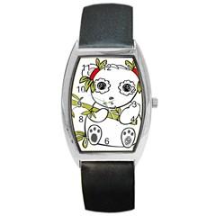 Panda China Chinese Furry Barrel Style Metal Watch