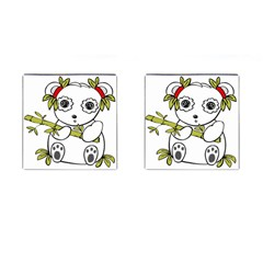 Panda China Chinese Furry Cufflinks (square)