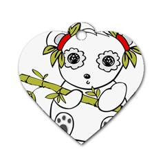 Panda China Chinese Furry Dog Tag Heart (two Sides)