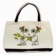 Panda China Chinese Furry Basic Tote Bag (two Sides)