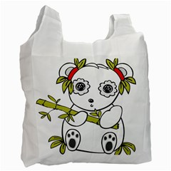 Panda China Chinese Furry Recycle Bag (one Side)