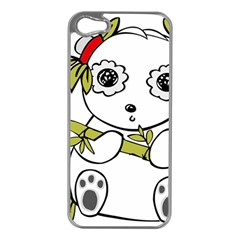 Panda China Chinese Furry Apple Iphone 5 Case (silver)