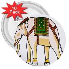 Elephant Indian Animal Design 3  Buttons (10 Pack)