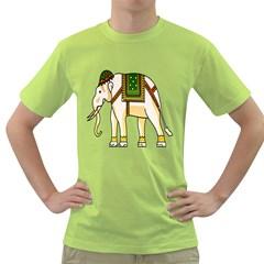 Elephant Indian Animal Design Green T Shirt