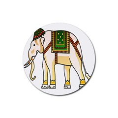 Elephant Indian Animal Design Rubber Round Coaster (4 Pack)