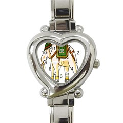 Elephant Indian Animal Design Heart Italian Charm Watch