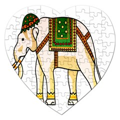 Elephant Indian Animal Design Jigsaw Puzzle (heart)