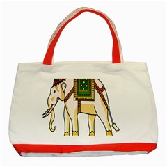 Elephant Indian Animal Design Classic Tote Bag (red)