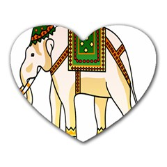 Elephant Indian Animal Design Heart Mousepads