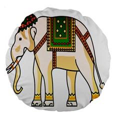 Elephant Indian Animal Design Large 18  Premium Round Cushions