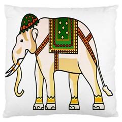 Elephant Indian Animal Design Large Flano Cushion Case (two Sides)