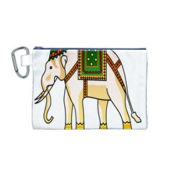 Elephant Indian Animal Design Canvas Cosmetic Bag (m)