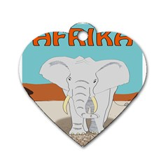 Africa Elephant Animals Animal Dog Tag Heart (one Side)