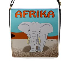 Africa Elephant Animals Animal Flap Messenger Bag (l)