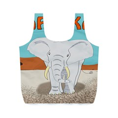 Africa Elephant Animals Animal Full Print Recycle Bags (m)