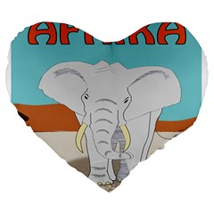 Africa Elephant Animals Animal Large 19  Premium Flano Heart Shape Cushions