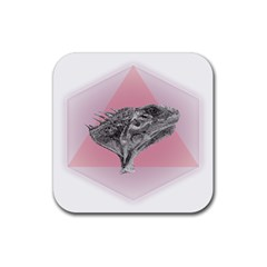 Lizard Hexagon Rosa Mandala Emblem Rubber Coaster (square)
