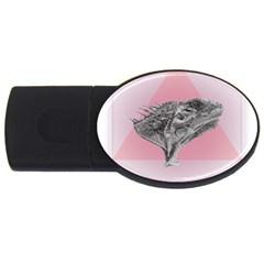 Lizard Hexagon Rosa Mandala Emblem Usb Flash Drive Oval (4 Gb)