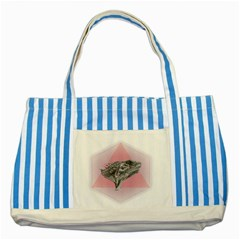 Lizard Hexagon Rosa Mandala Emblem Striped Blue Tote Bag