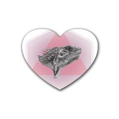 Lizard Hexagon Rosa Mandala Emblem Rubber Coaster (heart)