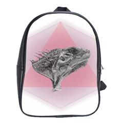 Lizard Hexagon Rosa Mandala Emblem School Bag (large)