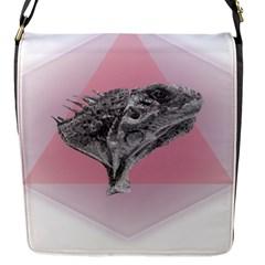 Lizard Hexagon Rosa Mandala Emblem Flap Messenger Bag (s)