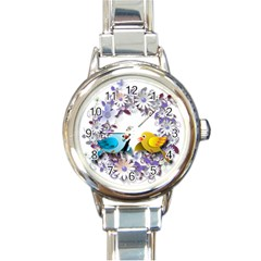 Flowers Floral Flowery Spring Round Italian Charm Watch