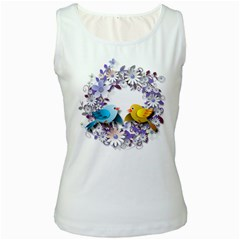 Flowers Floral Flowery Spring Women s White Tank Top